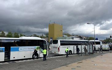 Treinvervangend vervoer bussen op station